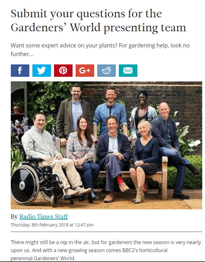 Mark Lane Designs, Radio Times, BBC Gardeners' World