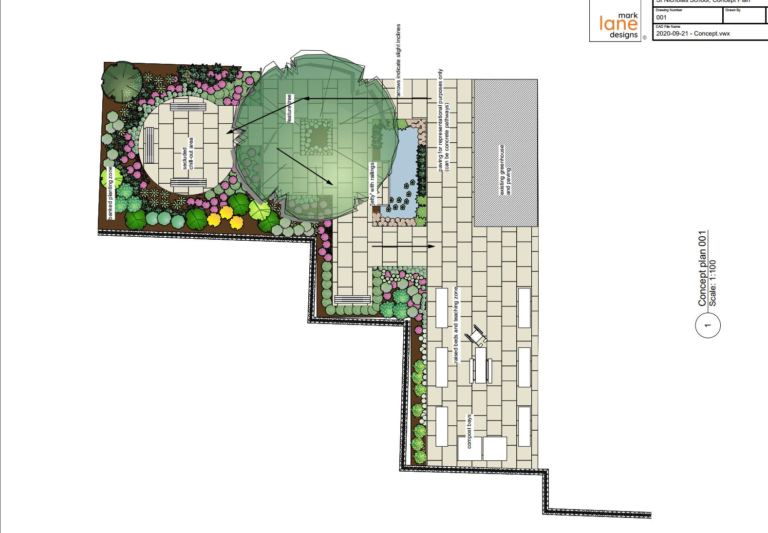 School Garden, Canterbury, Kent: Mark Lane Designs